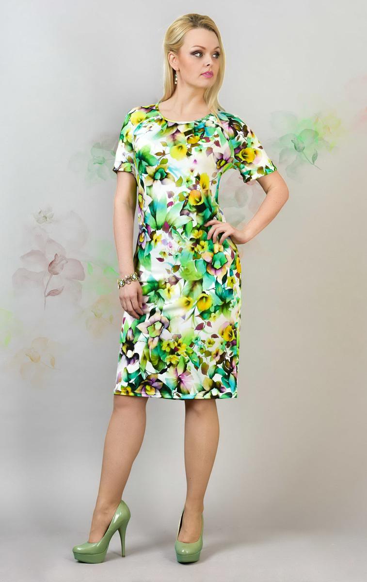 Платье Milana Style, цвет: салатовый, желтый, мультиколор. 905м. Размер 6XL (60)905мСтильное платье Milana Style, изготовленное из полиэстера и вискозы с добавлением лайкры, приятное на ощупь, не сковывает движения и обеспечивает комфорт.Платье-миди с круглым вырезом горловины и короткими рукавами-реглан оформлено цветочным принтом. Верхняя часть спинки дополнена небольшим вырезом, рукава - декоративными отворотами.
