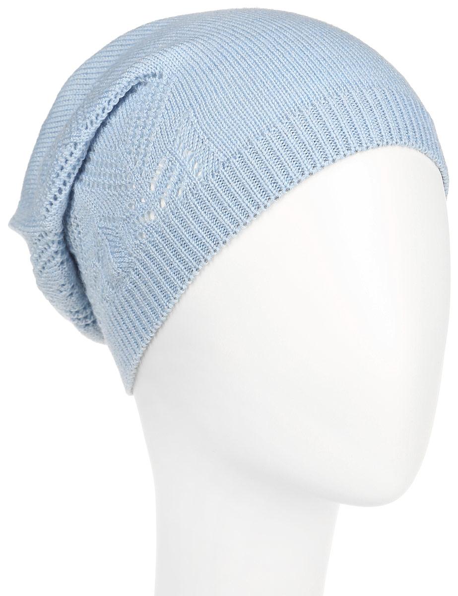 Шапка женская Flioraj, цвет: голубой. 7303PI-53. Размер 56/587303PI-53Удлиненная женская шапка Flioraj с ажурным узором отлично дополнит ваш образ в холодную погоду. Сочетание шерсти и акрила максимально сохраняет тепло и обеспечивает удобную посадку, невероятную легкость и мягкость.Привлекательная стильная шапка Flioraj подчеркнет ваш неповторимый стиль и индивидуальность.
