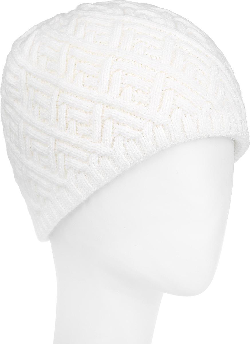 Шапка женская Flioraj, цвет: молочный. 3-018-001. Размер 583-018_001Стильная женская шапка Flioraj с фактурной вязкой дополнит ваш образ в холодную погоду. Модель выполнена из высококачественной шерсти в сочетании с акрилом, мягкая и приятная на ощупь. Шапочка двойная, идеально прилегает к голове, надежно защищая от ветра и мороза.Край шапки связан резинкой средней ширины. Изделие оформлено декоративным вязаным узором.Такой теплый аксессуар подчеркнет вашу женственность и неповторимость, а также защитит от холода и создаст ощущение комфорта. Уважаемые клиенты!Размер, доступный для заказа, является обхватом головы.