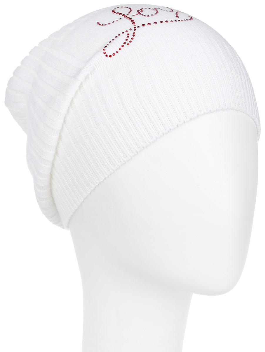 Шапка женская Flioraj, цвет: белый. 7304PI-11. Размер 56/587304PI-11Удлиненная женская шапка Flioraj отлично дополнит ваш образ в холодную погоду. Сочетание шерсти и акрила максимально сохраняет тепло и обеспечивает удобную посадку, невероятную легкость и мягкость. Шапка декорирована ненавязчивым узором из страз. Привлекательная стильная шапка Flioraj подчеркнет ваш неповторимый стиль и индивидуальность.