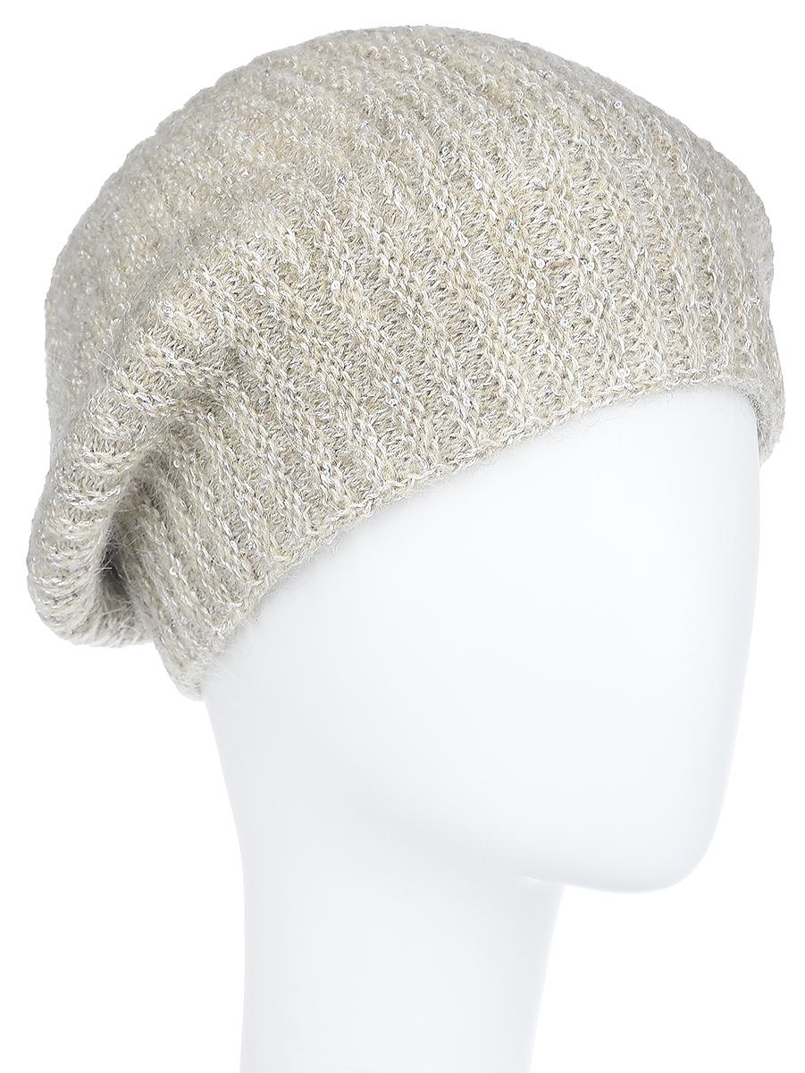 Шапка женская Dispacci Империя, цвет: бежевый. 21015K. Размер 5821015KВязаная женская шапка Dispacci Империя отлично подойдет для модниц в холодное время года. Изготовленная из высококачественной итальянской пряжи с содержанием шерсти и мохера, она мягкая и приятная на ощупь, обладает хорошими дышащими свойствами и максимально удерживает тепло.Модель в форме маленького французского берета декорирована мелкими переливающимися пайетками по всей поверхности. Дополнено изделие небольшой металлической пластиной с названием бренда.Такая шапка не только теплый головной убор, но и стильный аксессуар. Она подчеркнет ваш образ и индивидуальность!Уважаемые клиенты!Размер, доступный для заказа, является обхватом головы.