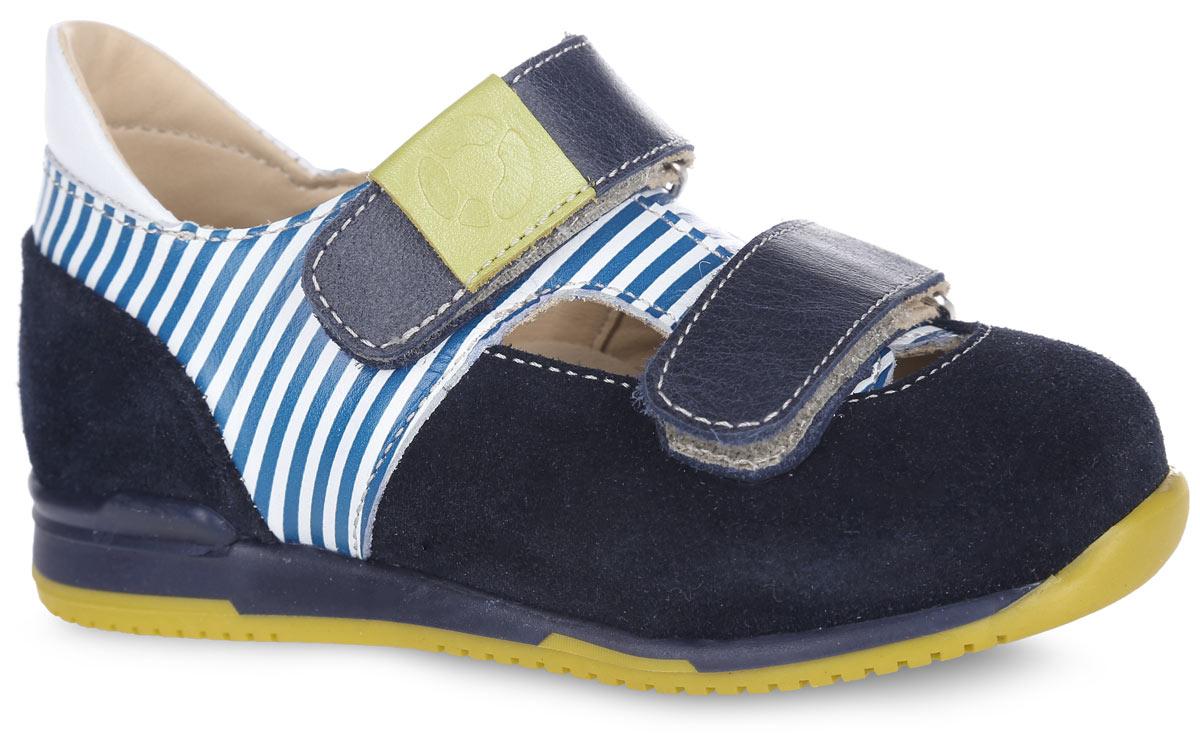 Туфли для мальчика TapiBoo, цвет: венге, темно-синий. FT-25004.16-OL08O.01. Размер 28FT-25004.16-OL08O.01-23Стильные туфли от TapiBoo придутся по душе вашему мальчику. Модель выполнена из натуральной кожи разной фактуры и оформлена принтом в полоску, в области подъема - резными отверстиями для лучшего воздухообмена, на верхнем ремешке - шильдой с логотипом. Подкладка и стелька, изготовленные из натуральной кожи, гарантируют комфорт при ходьбе. Многослойная, анатомическая стелька дополнена сводоподдерживающим элементом для правильного формирования стопы. Ремешки на застежках-липучках позволяют легко снимать и надевать обувь даже самым маленьким детям, обеспечивая при этом оптимальную фиксацию стопы. Жесткий фиксирующий задник надежно стабилизирует голеностопный сустав во время ходьбы, препятствуя развитию патологических изменений стопы. Эластичный подносок надежно защищает переднюю часть стопы ребенка, не сжимая пальцы ног и оставляя достаточно пространства для естественной подвижности передней части стопы. Широкий, устойчивый каблук специальной конфигурации каблук Томаса продлен с внутренней стороны до середины стопы, чтобы исключить вращение (заваливание) стопы вовнутрь. Упругая, умеренно-эластичная подошва имеет перекат, позволяющий повторить естественное движение стопы при ходьбе для правильного распределения нагрузки на опорно-двигательный аппарат ребенка. Рифление на подошве для лучшего сцепления с поверхностями. Такие туфли займут достойное место среди коллекции обуви вашего ребенка.