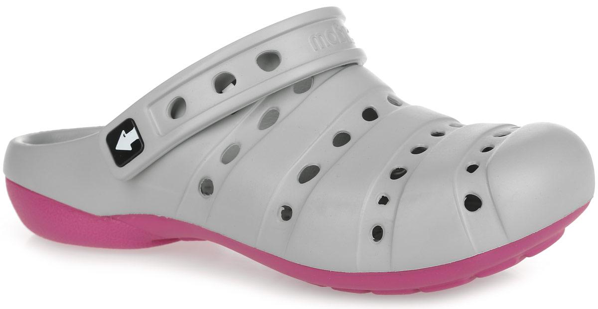 Сабо женские Gow, цвет: серый, розовый. GW-2С. Размер 36GW-2СОчень легкие сабо от Gow с ремешком на пятке и закрытым мыском, выполненные полностью из ЭВА материала - это превосходный вид обуви. Ремешок на пятке дополнен символикой бренда.Материал ЭВА имеет пористую структуру, обладает великолепными теплоизоляционными и морозостойкими свойствами, 100% водонепроницаемостью, придает обуви амортизационные свойства, мягкость при ходьбе, устойчивость к истиранию подошвы. Рифление на верхней поверхности подошвы предотвращает выскальзывание ноги. Рельефное основание подошвы обеспечивает уверенное сцепление с любой поверхностью.Удобные сабо прекрасно подойдут для работы в огороде, для похода в бассейн или на пляж.
