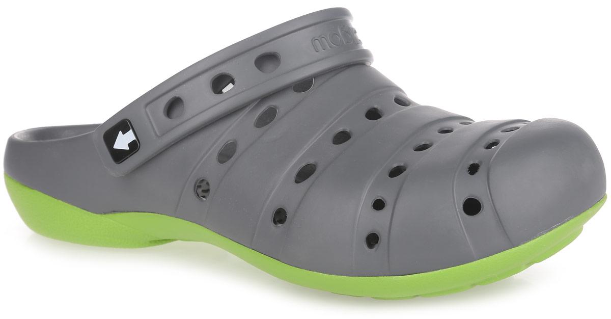 Сабо мужские Gow, цвет: темно-серый, салатовый. GW-1С. Размер 45GW-1СОчень легкие сабо от Gow с ремешком на пятке и закрытым мыском, выполненные полностью из ЭВА материала - это превосходный вид обуви. Ремешок на пятке дополнен символикой бренда.Материал ЭВА имеет пористую структуру, обладает великолепными теплоизоляционными и морозостойкими свойствами, 100% водонепроницаемостью, придает обуви амортизационные свойства, мягкость при ходьбе, устойчивость к истиранию подошвы. Рифление на верхней поверхности подошвы предотвращает выскальзывание ноги. Рельефное основание подошвы обеспечивает уверенное сцепление с любой поверхностью.Удобные сабо прекрасно подойдут для работы в огороде, для похода в бассейн или на пляж.