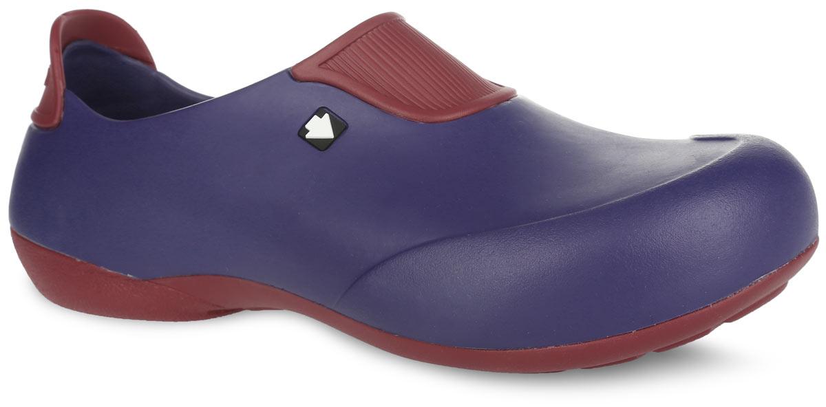 Галоши мужские Gow, цвет: темно-синий, бордовый. GW-1ST. Размер 40GW-1STОчень легкие галоши от Gow с закрытой пяткой и закрытым мыском, выполненные полностью из ЭВА материала - это превосходный вид обуви. Подъем и задник модели оформлены контрастными вставками, задник дополнен символикой бренда.Материал ЭВА имеет пористую структуру, обладает великолепными теплоизоляционными и морозостойкими свойствами, 100% водонепроницаемостью, придает обуви амортизационные свойства, мягкость при ходьбе, устойчивость к истиранию подошвы. Рифление на верхней поверхности подошвы предотвращает выскальзывание ноги. Рельефное основание подошвы обеспечивает уверенное сцепление с любой поверхностью.Удобные галоши прекрасно подойдут для работы в огороде, для похода в бассейн или на пляж.