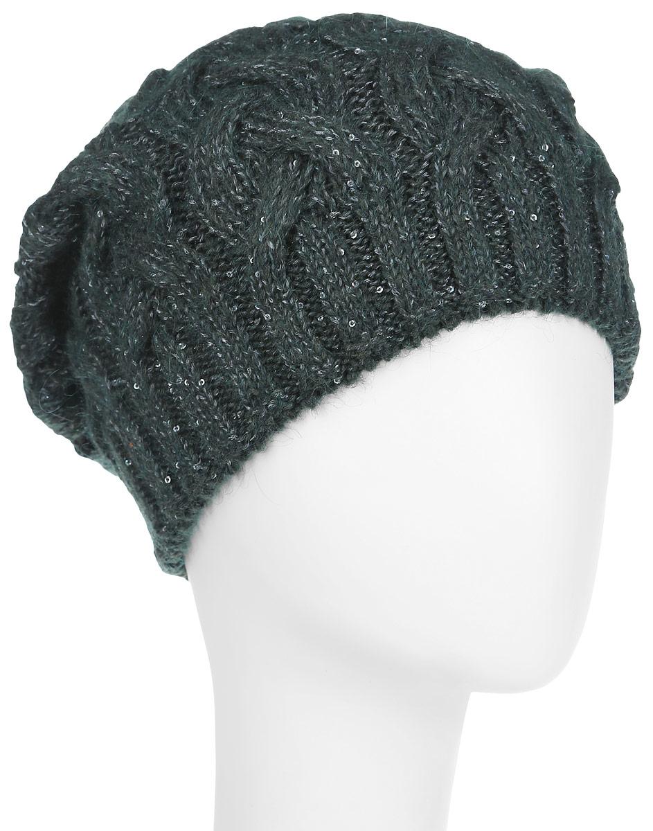 Шапка женская Dispacci Виттория, цвет: темно-зеленый, серый. 21014K. Размер 5821014KВязаная женская шапка Dispacci Виттория отлично подойдет для вас в холодное время года. Изготовленная из высококачественной итальянской пряжи с содержанием шерсти, она мягкая и приятная на ощупь, обладает хорошими дышащими свойствами и максимально удерживает тепло. Шапочка двойная, что позволяет носить ее и в очень морозную погоду. Удлиненная модель шапки идеально подходит для любого типа лица и никогда не выходит из моды. Изделие оформлено крупным вязаным узором в виде косичек. Декорирована шапка мелкими переливающимися пайетками по всей поверхности, а также небольшой металлической пластиной с названием бренда.Шапка не только теплый головной убор, но и изящный аксессуар. Она подчеркнет ваш стиль и индивидуальность!Уважаемые клиенты!Размер, доступный для заказа, является обхватом головы.