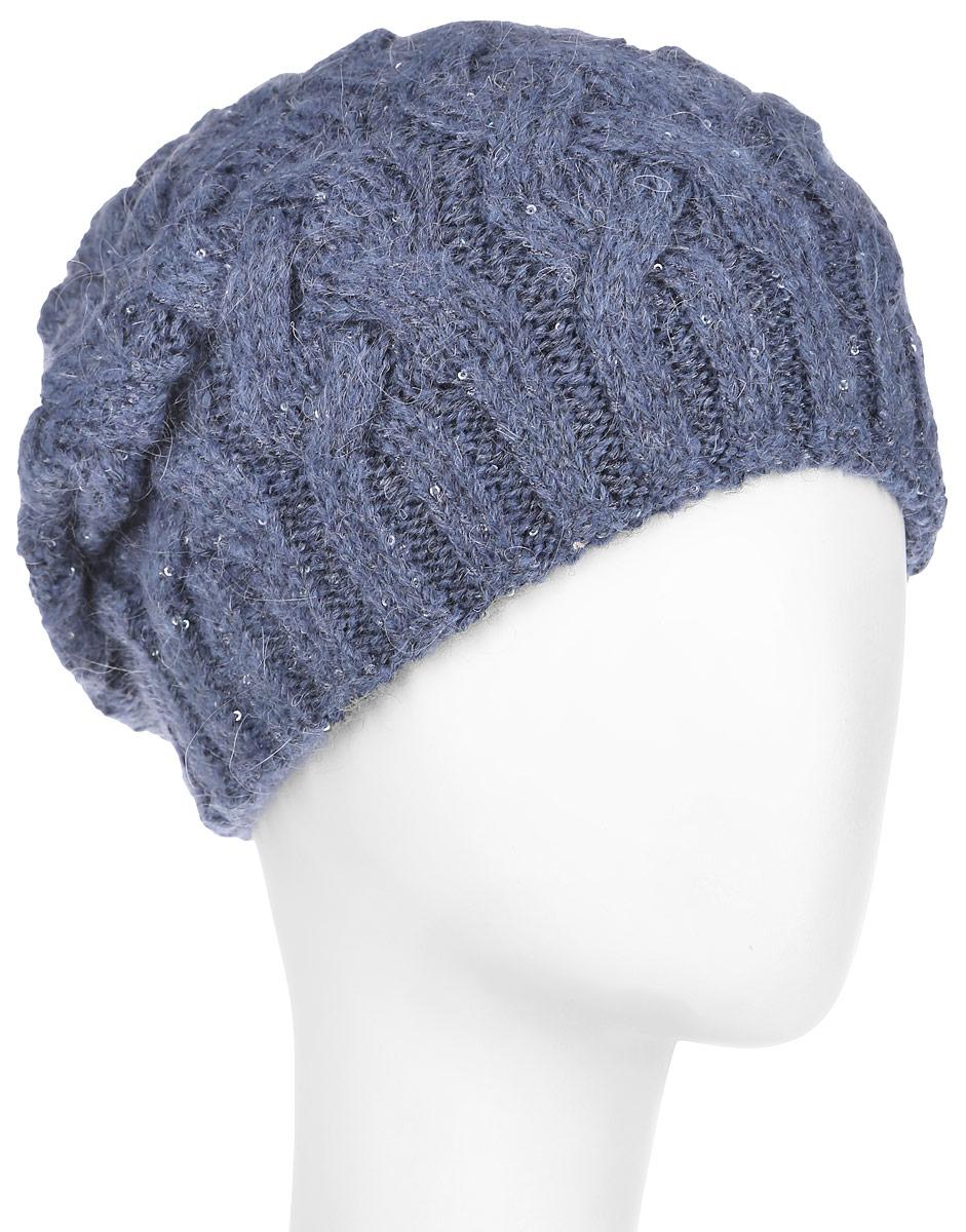 Шапка женская Dispacci Виттория, цвет: синий, серый. 21014K. Размер 5821014KВязаная женская шапка Dispacci Виттория отлично подойдет для вас в холодное время года. Изготовленная из высококачественной итальянской пряжи с содержанием шерсти, она мягкая и приятная на ощупь, обладает хорошими дышащими свойствами и максимально удерживает тепло. Шапочка двойная, что позволяет носить ее и в очень морозную погоду. Удлиненная модель шапки идеально подходит для любого типа лица и никогда не выходит из моды. Изделие оформлено крупным вязаным узором в виде косичек. Декорирована шапка мелкими переливающимися пайетками по всей поверхности, а также небольшой металлической пластиной с названием бренда.Шапка не только теплый головной убор, но и изящный аксессуар. Она подчеркнет ваш стиль и индивидуальность!Уважаемые клиенты!Размер, доступный для заказа, является обхватом головы.