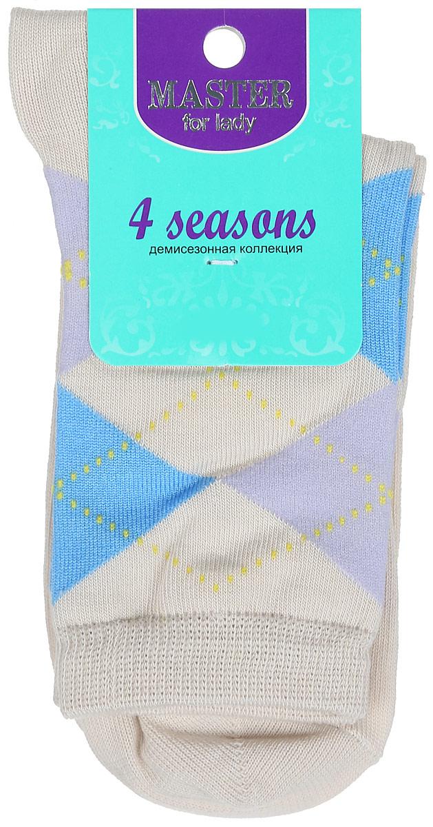 Носки женские Master Socks, цвет: бежевый. 55032. Размер 2555032Удобные носки Master Socks, изготовленные из высококачественного комбинированного материала, очень мягкие и приятные на ощупь, позволяют коже дышать. Эластичная резинка плотно облегает ногу, не сдавливая ее, обеспечивая комфорт и удобство. Носки с паголенком классической длины оформлены орнаментом в ромбик. Практичные и комфортные носки великолепно подойдут к любой вашей обуви.