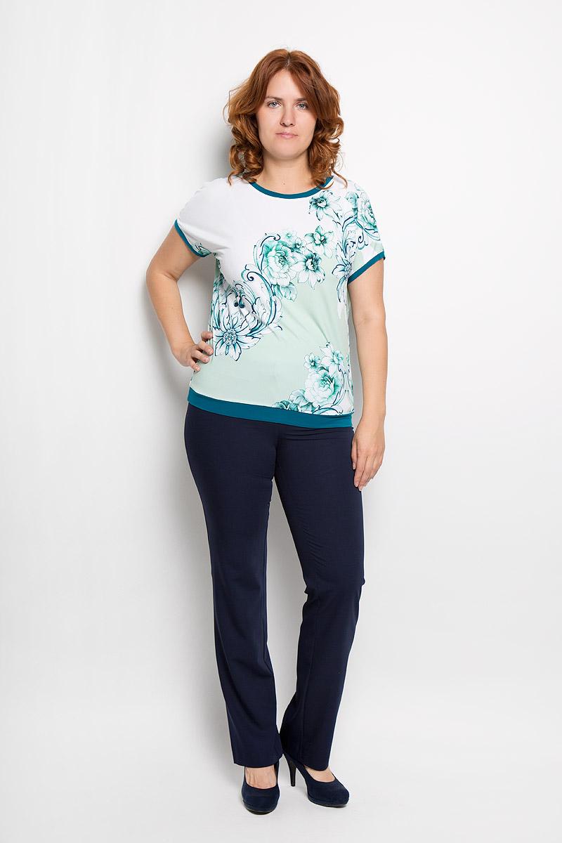 Блузка женская Milana Style, цвет: белый, зеленый. 924м. Размер 50924мСтильная женская блузка Milana Style, выполненная из вискозы с добавлением лайкры, подчеркнет ваш уникальный стиль и поможет создать женственный образ. Модель c круглым вырезом горловины и рукавами-кимоно. Низ рукавов и низ изделия дополнены тонкими манжетами. Блуза оформлена цветочным принтом. Такая блузка будет дарить вам комфорт в течение всего дня и послужит замечательным дополнением к вашему гардеробу.