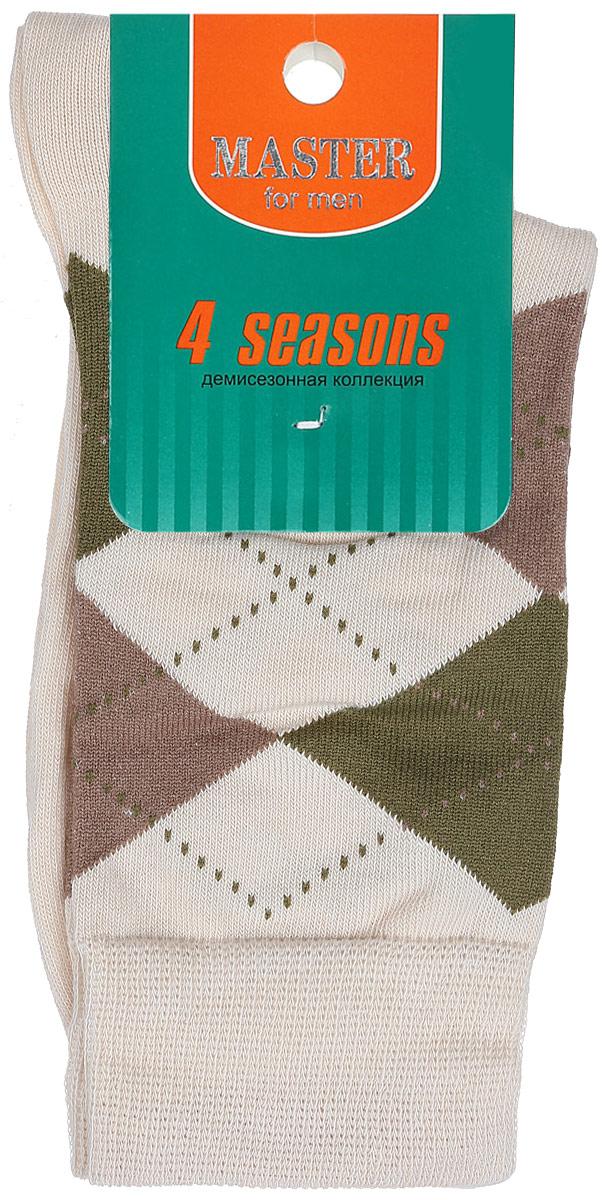 Носки мужские Master Socks, цвет: бежевый. 58032. Размер 2558032Удобные носки Master Socks, изготовленные из высококачественного комбинированного материала, очень мягкие и приятные на ощупь, позволяют коже дышать. Эластичная резинка плотно облегает ногу, не сдавливая ее, обеспечивая комфорт и удобство. Носки с паголенком классической длины оформлены орнаментом в ромбик. Практичные и комфортные носки великолепно подойдут к любой вашей обуви.