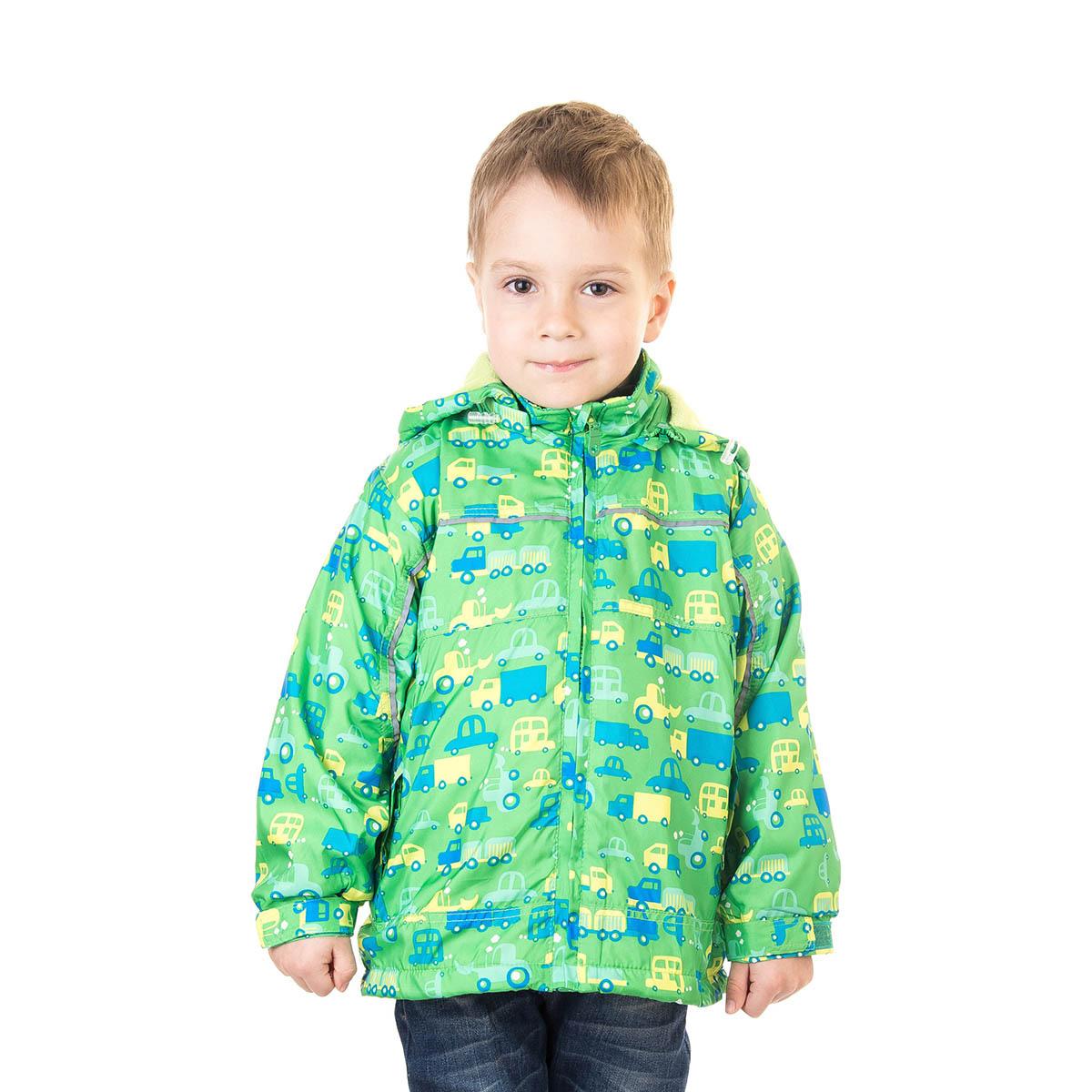 Ветровка для мальчика M&D, цвет: зеленый. 111525D-13. Размер 110111525D-13Ветровка для мальчика M&D идеально подойдет для вашего ребенка в прохладное время года. Модель изготовлена из 100% полиэстера с подкладкой из натурального хлопка. Ветровка с воротником стойкой дополнена капюшоном, который пристегивается с помощью молнии. Застегивается модель на пластиковую застежку-молнию с защитой подбородка. Низ рукавов присборен на резинки. Предусмотрена утяжка в виде резинок со стопперами: на капюшоне и внутри изделия понизу. Спереди модель дополнена двумя втачными карманами на застежках-молниях. Оформлена ветровка красочным цветочным принтом с изображением машин.