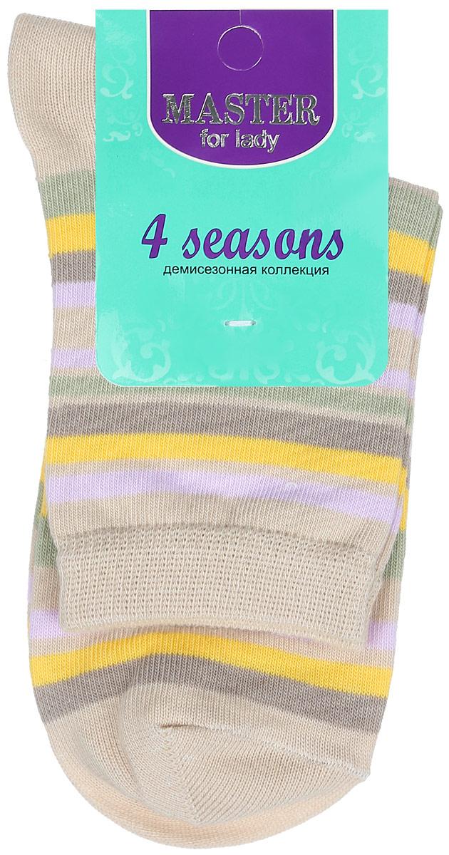 Носки женские Master Socks, цвет: бежевый, мультиколор. 55002. Размер 2355002Удобные носки Master Socks, изготовленные из высококачественного комбинированного материала, очень мягкие и приятные на ощупь, позволяют коже дышать. Эластичная резинка плотно облегает ногу, не сдавливая ее, обеспечивая комфорт и удобство. Носки с паголенком классической длины оформлены принтом в полоску. Практичные и комфортные носки великолепно подойдут к любой вашей обуви.