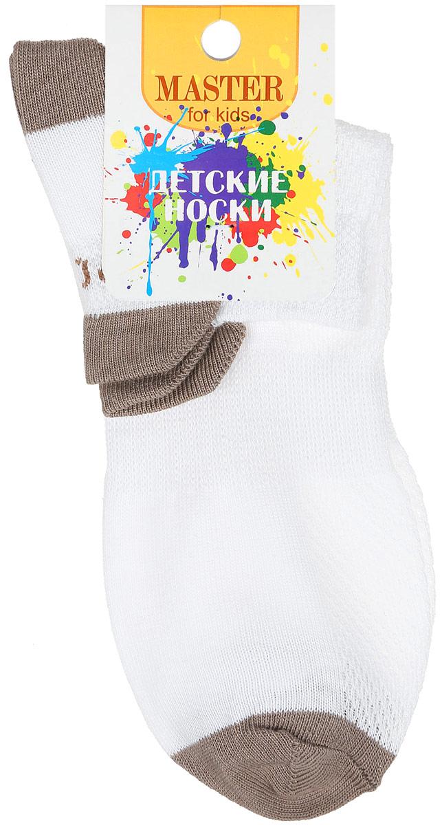 Носки детские Master Socks, цвет: белый, темно-бежевый. 52056. Размер 1652056Спортивные детские носки Master Socks изготовлены из натурального хлопка и полиамида. Ткань легкая, тактильно приятная, хорошо пропускает воздух. Короткая модель носков имеет эластичную резинку с фигурным краем, которая мягко облегает ножку ребенка, обеспечивая удобство и комфорт. Изделие оформлено надписями. Удобные и прочные носочки станут отличным дополнением к детскому гардеробу!Уважаемые клиенты!Размер, доступный для заказа, является длиной стопы.