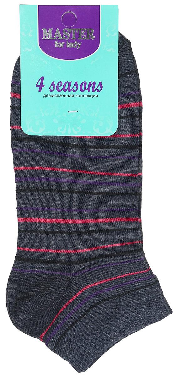 Носки женские Master Socks, цвет: темно-серый, розовый, фиолетовый, черный. 55103. Размер 2355103Удобные носки Master Socks, изготовленные из высококачественного комбинированного материала, очень мягкие и приятные на ощупь, позволяют коже дышать. Эластичная резинка плотно облегает ногу, не сдавливая ее, обеспечивая комфорт и удобство. Носки с укороченным паголенком и полупрозрачными полосками на верхней части носка. Модель оформлена принтом в полоску.Удобные и комфортные носки великолепно подойдут к любой вашей обуви.