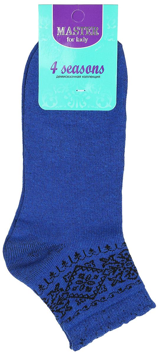 Носки женские Master Socks, цвет: синий, черный. 55062. Размер 2355062Удобные носки Master Socks, изготовленные из высококачественного комбинированного материала, очень мягкие и приятные на ощупь, позволяют коже дышать.Эластичная резинка плотно облегает ногу, не сдавливая ее, обеспечивая комфорт и удобство. Модель с укороченным паголенком оформлена оригинальным узором.Удобные и комфортные носки великолепно подойдут к любой вашей обуви.