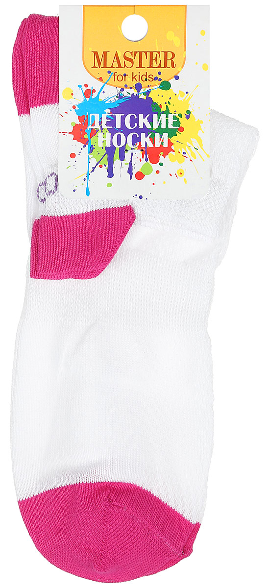 Носки детские Master Socks, цвет: белый, фуксия. 52056. Размер 2452056Спортивные детские носки Master Socks изготовлены из натурального хлопка и полиамида. Ткань легкая, тактильно приятная, хорошо пропускает воздух. Короткая модель носков имеет эластичную резинку с фигурным краем, которая мягко облегает ножку ребенка, обеспечивая удобство и комфорт. Изделие оформлено надписями. Удобные и прочные носочки станут отличным дополнением к детскому гардеробу!Уважаемые клиенты!Размер, доступный для заказа, является длиной стопы.