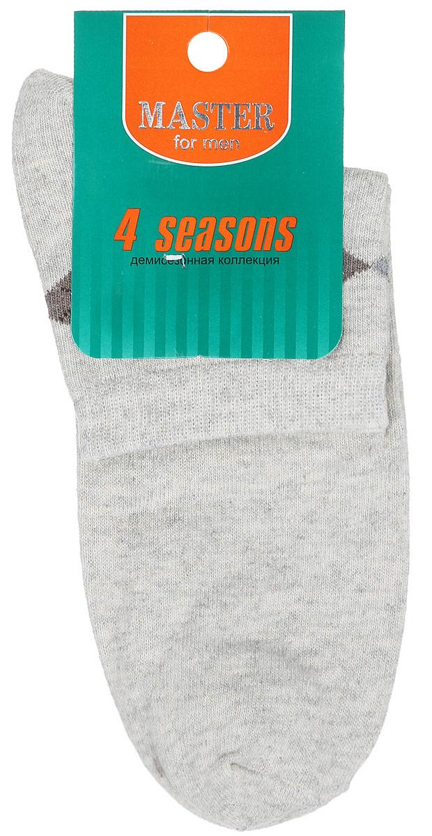 Носки мужские Master Socks, цвет: серо-бежевый. 58034. Размер 2758034Удобные носки Master Socks, изготовленные из высококачественного комбинированного материала, очень мягкие и приятные на ощупь, позволяют коже дышать. Эластичная резинка плотно облегает ногу, не сдавливая ее, обеспечивая комфорт и удобство. Носки с укороченным паголенком оформлены геометрическим принтом на верхней части носка. Удобные и комфортные носки великолепно подойдут к любой вашей обуви.
