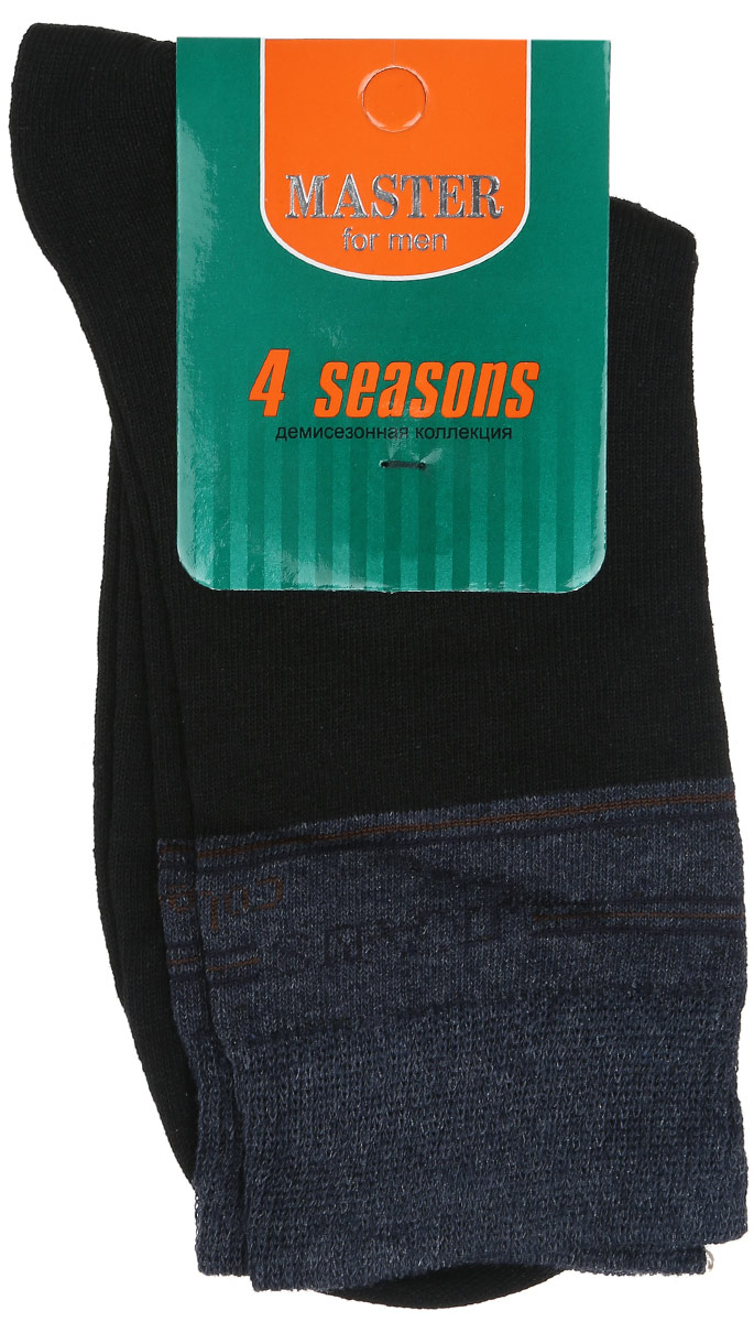 Носки мужские Master Socks, цвет: черный, темно-синий. 58066. Размер 2758066Удобные носки Master Socks, изготовленные из высококачественного комбинированного материала, очень мягкие и приятные на ощупь, позволяют коже дышать. Эластичная резинка плотно облегает ногу, не сдавливая ее, обеспечивая комфорт и удобство. Носки с паголенком классической длины. Практичные и комфортные носки великолепно подойдут к любой вашей обуви.