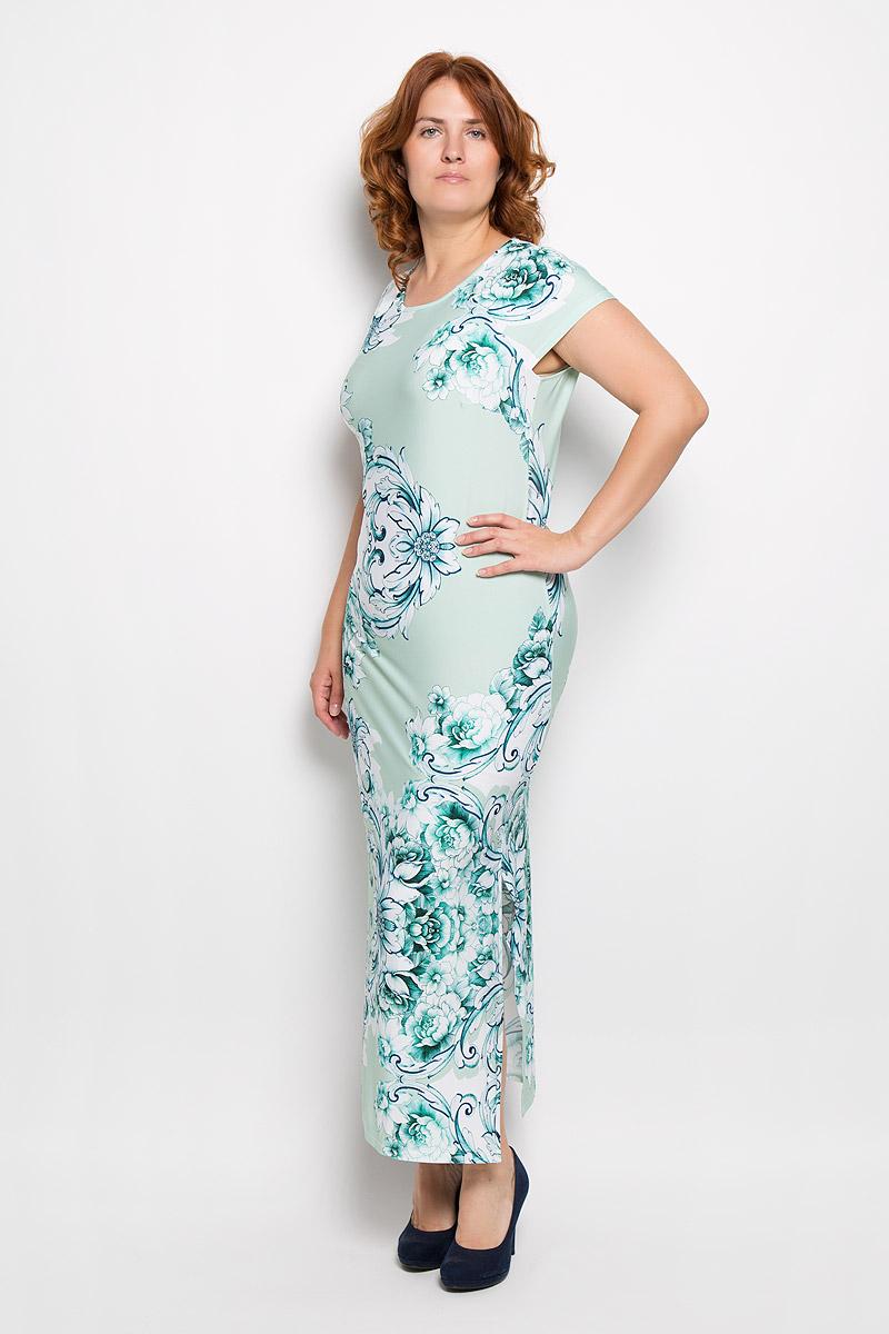Платье Milana Style, цвет: мятный, белый. 921м. Размер L (48)921мПлатье Milana Style поможет создать оригинальный женственный образ. Модель выполнена из вискозы и полиэстера с добавлением лайкры. Платье очень приятное на ощупь, не сковывает движений и обеспечивает комфорт.Платье-макси с короткими рукавами-реглан и круглым вырезом горловины оформлено цветочным принтом. Нижняя часть модели по одному из боковых швов дополнена разрезом.Такое платье станет модным и стильным дополнением к вашему гардеробу!