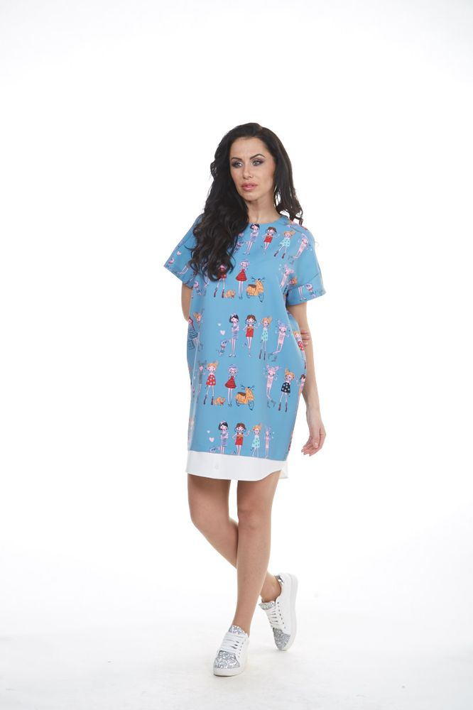 Платье Krisna Люмина, цвет: сине-серый, мультиколор. Размер 42ЛюминаСтильное платье Krisna Люмина выполнено из высококачественного комбинированного материала. Модель с круглым вырезом горловины и рукавами-реглан застегивается на потайную застежку-молнию расположенную в среднем шве спинки. Изделие оформлено эффектом 2 в 1 и украшено оригинальными рисунками.