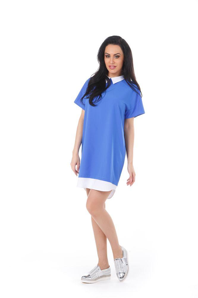 Платье Krisna Люмина, цвет: синий, белый. Размер 48ЛюминаСтильное платье Krisna Люмина выполнено из высококачественного комбинированного материала. Модель с отложным воротником и рукавами-реглан застегивается на потайную застежку-молнию расположенную в среднем шве спинки. Оформлено изделие эффектом 2 в 1.