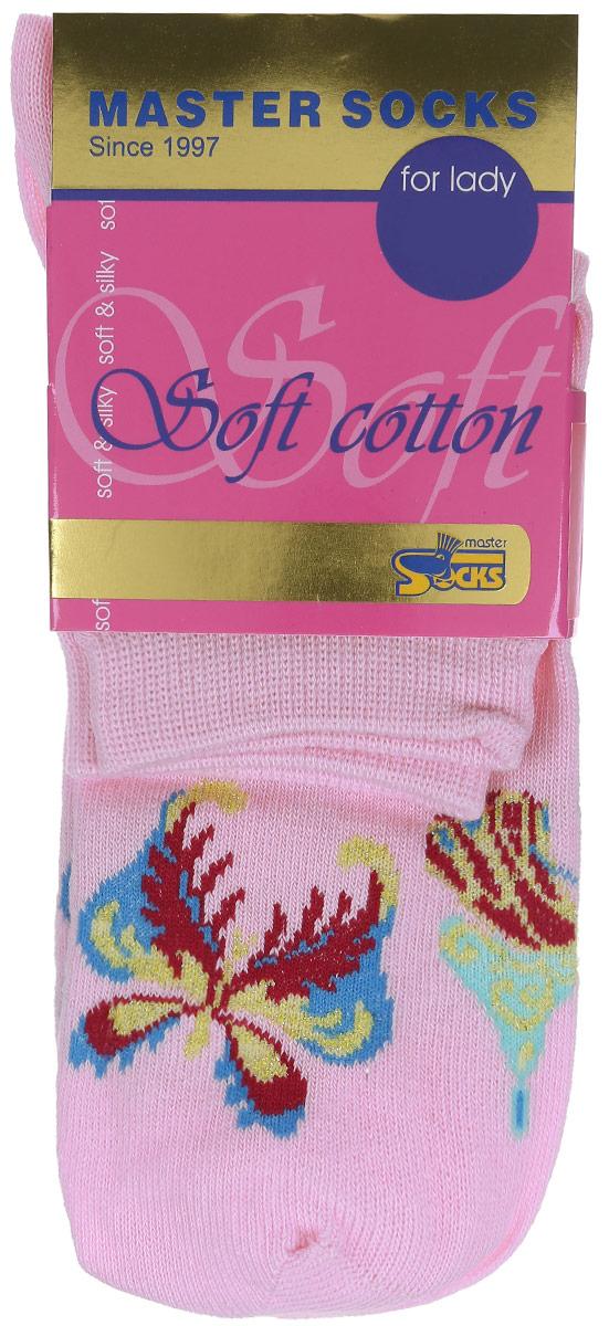 Носки женские Master Socks, цвет: розовый. 85111. Размер 2385111Удобные носки Master Socks, изготовленные из высококачественного комбинированного материала, очень мягкие и приятные на ощупь, позволяют коже дышать.Эластичная резинка плотно облегает ногу, не сдавливая ее, обеспечивая комфорт и удобство. Модель с стандартным паголенком оформлена принтом с изображением бабочек.Удобные и комфортные носки великолепно подойдут к любой вашей обуви.