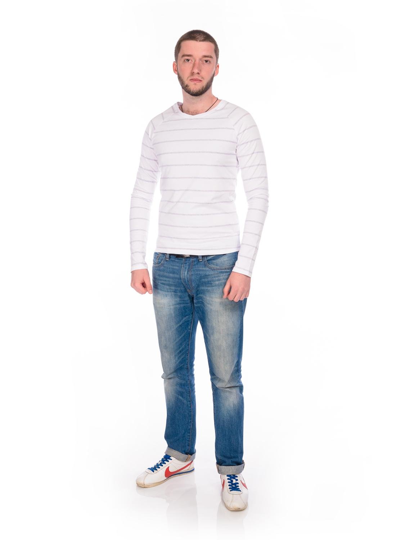Лонгслив мужской RAV, цвет: белый, светло-серый меланж. RAV01-017. Размер S (46)RAV01-017Мужской лонгслив RAV выполнен из эластичного хлопка.Модель с V-образным вырезом горловины и длинными рукавами-реглан оформлена принтом в полоску. Вырез горловины дополнен трикотажной резинкой.