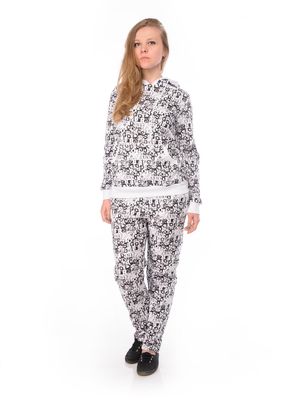 Комплект женский RAV: толстовка, брюки, цвет: белый, черный. RAV02-002. Размер L (48)RAV02-002Женский комплект RAV состоит из толстовки и брюк. Комплект изготовлен из натурального хлопка. Толстовкас капюшоном и длинными рукавами. Край капюшона дополнен шнурком-кулиской. Низ рукавов и низ изделия обработаны эластичными манжетами. Спереди расположен накладной карман кенгуру. Брюки по талии дополнены эластичным поясом со шнурком-кулиской. В боковых швах обработаны втачные карманы с косыми срезами. Комплект оформлен принтовыми надписями.