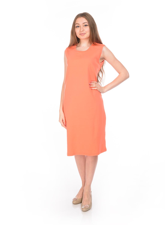 Платье RAV, цвет: коралловый. RAV02-007. Размер XL (50)RAV02-007Стильное трикотажное платье RAV изготовлено из эластичного хлопка.Модель-миди с круглым вырезом горловины и без рукавов выполнено в лаконичном дизайне.