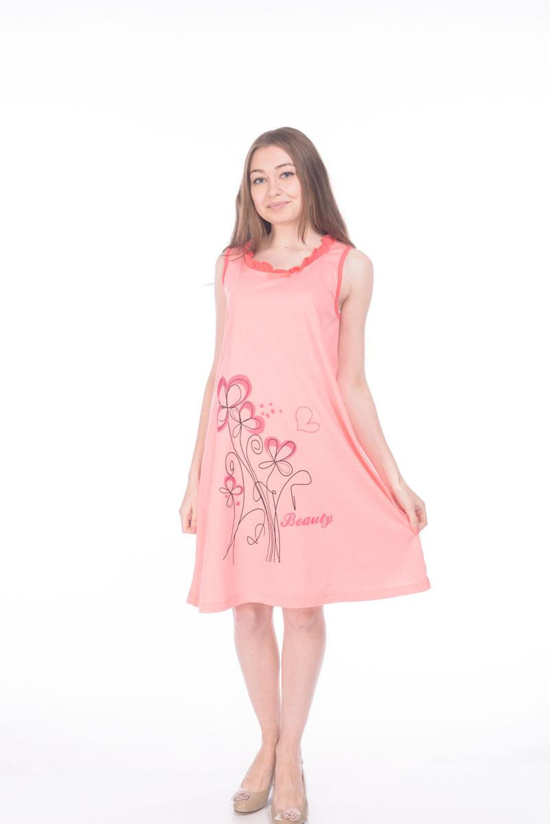 Сорочка ночная женская RAV, цвет: розовый. RAV04-011. Размер L (48)RAV04-011Женская сорочка выполнена из натурального хлопка. Модель без рукавов и с круглым вырезом горловины.