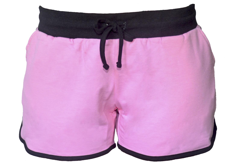Шорты женские RAV, цвет: розовый, черный. RAV04-002. Размер XL (50)RAV04-002Стильные женские шорты RAV изготовлены из натурального хлопка.Шорты стандартной посадки имеют эластичный пояс на талии, дополненный шнурком. Спереди расположены два втачных кармана.