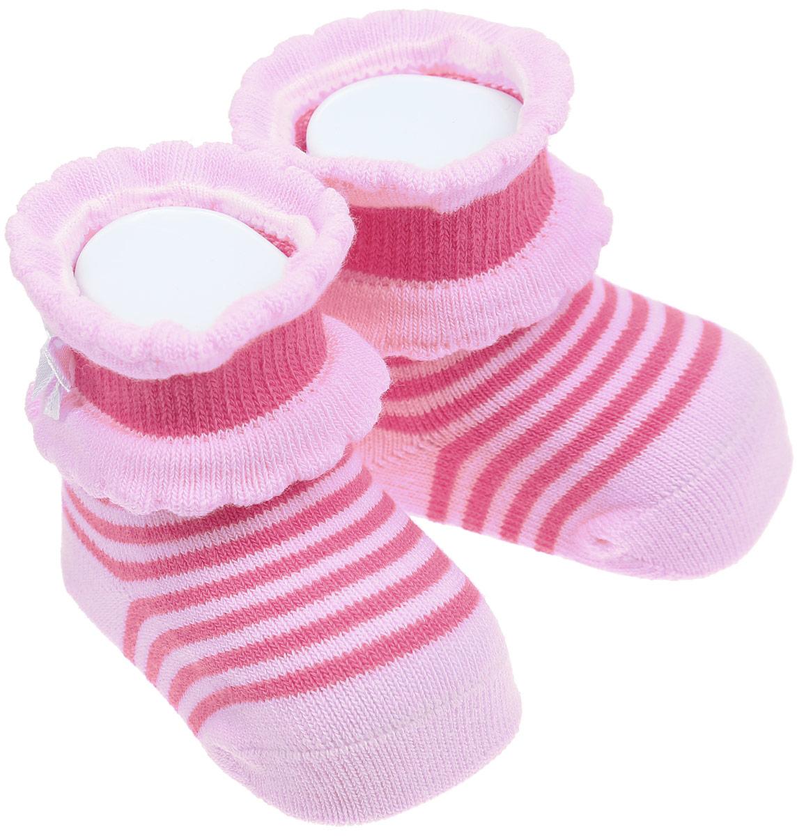 Носки детские Master Socks, цвет: розовый. 82017. Размер 882017Детские носки Master Socks изготовлены из высококачественного материала. Широкая резинка мягко облегает ножку, не сдавливая ее, благодаря чему ребенку будет комфортно и удобно. Усиленные пятка и мысок обеспечивают надежность и долговечность. Модель с фигурными краями оформлена принтом в полоску, украшена атласными бантиками. Такие носочки станут отличным дополнением к гардеробу ребенка! Уважаемые клиенты!Размер, доступный для заказа, является длиной стопы.