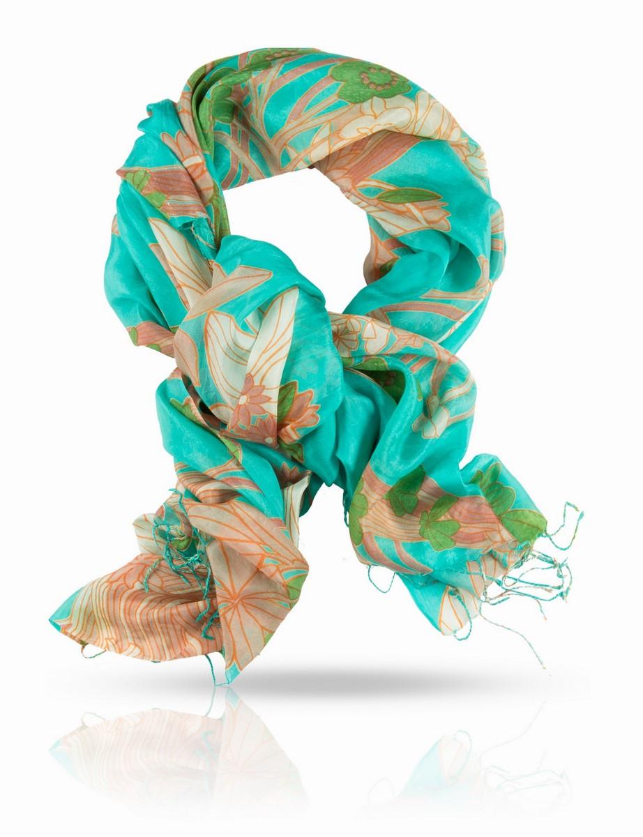 Палантин Michel Katana, цвет: бирюзовый, оранжевый, зеленый, бежевый. S-MUSH.FLOW/PALE. Размер 110 x 180 смS-MUSH.FLOW/PALEЯркий, невесомый шелковый палантин поможет вам создать запоминающийся образ. Натуральный 100% шелк ручного плетения и роспись в технике холодного батика делают этот палантин настоящим произведением искусства, поставленным на службу вашей красоты.