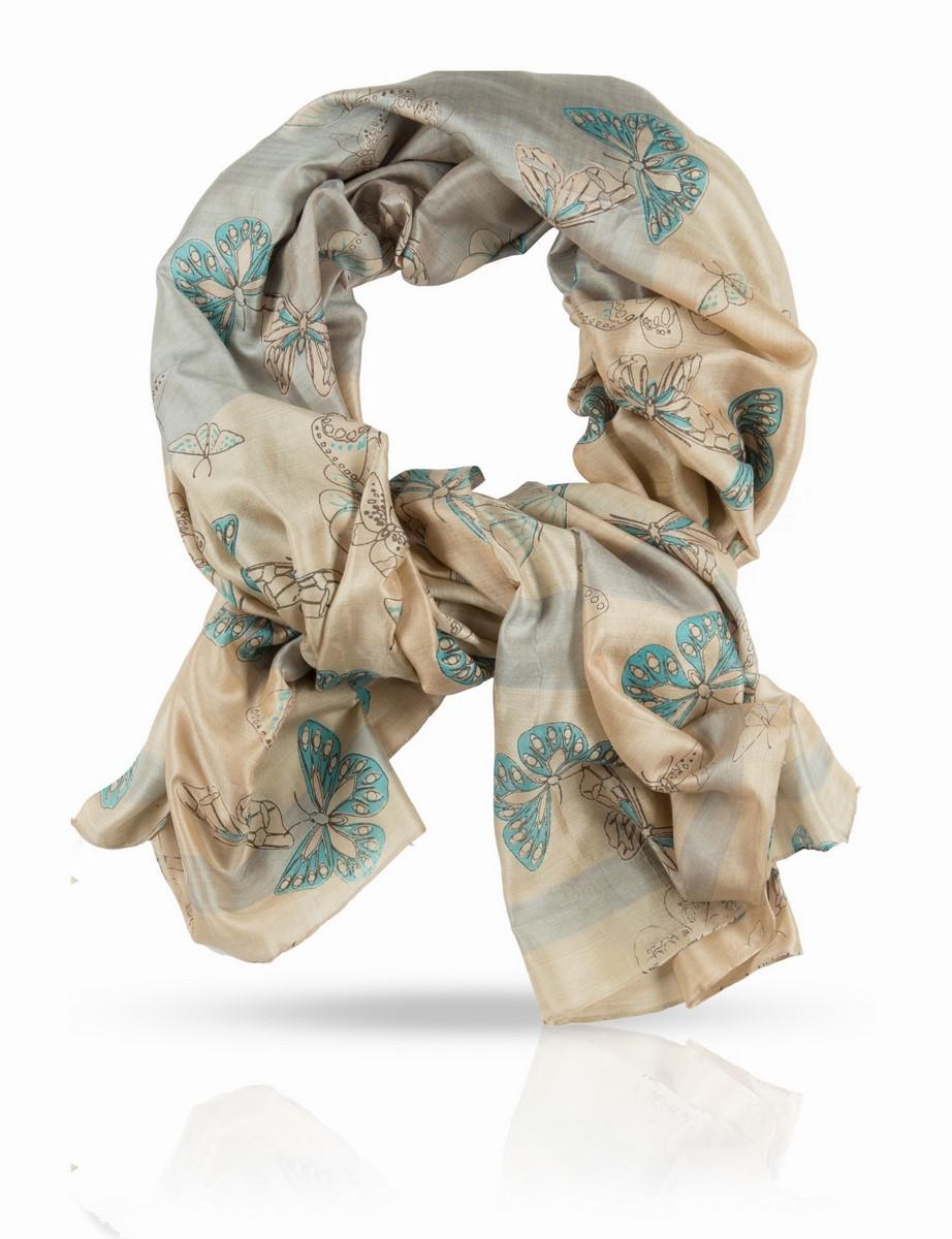 Палантин Michel Katana, цвет: бежевый, серый, бирюзовый. SN-BUTTERFLY/CORAL. Размер 100 x 190 смSN-BUTTERFLY/CORALПалантин выполнен из 100% натурального шелка. Шелковая ткань ручного плетения.Нежное поблескивание шелкового полотна, переходы тончайших красок, изящный мотив с летящими бабочками - это палантин из плотного шелка создан для наслаждения визуального и тактильного. С блузой, юбкой или платьем, с легким плащом и элегантным пальто - он будет служить женщине верой и правдой в любой сезон, защищая и украшая ее нежную красоту. Такой шелк очень непросто найти в России: плотный, нежный и при этом достаточно легкий, он идеален для драпировок и демонстрации особого вкуса к качественным вещам. Вы оцените уникальный дизайн Michel Katana и тонкую ручную отделку этого прекрасного палантина.