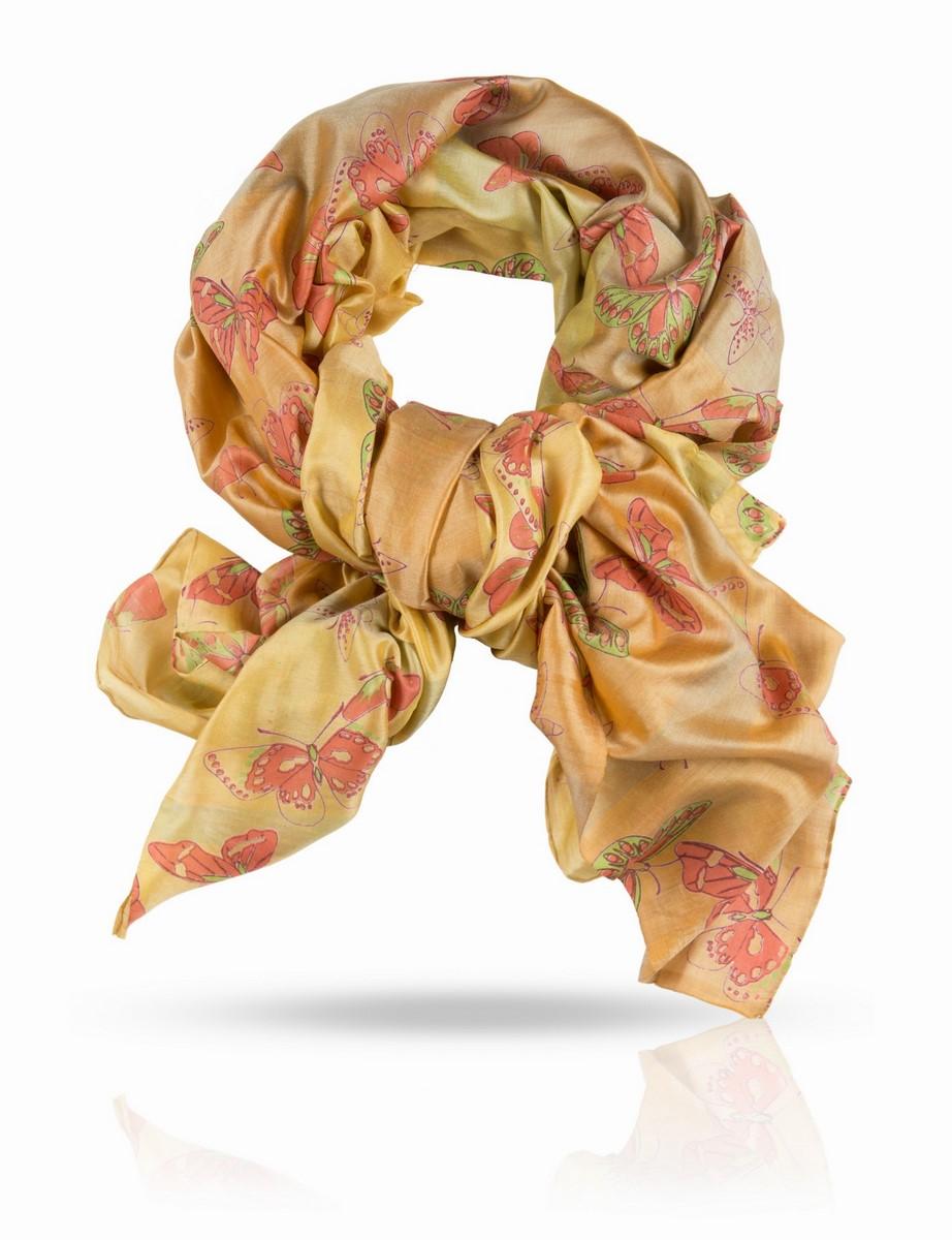 Палантин Michel Katana, цвет: желтый, салатовый, оливковый. SN-BUTTERFLY/YELLOW.OR. Размер 100 x 190 смSN-BUTTERFLY/YELLOW.ORПалантин выполнен из 100% натурального шелка. Шелковая ткань ручного плетения.Нежное поблескивание шелкового полотна, переходы тончайших красок, изящный мотив с летящими бабочками - это палантин из плотного шелка создан для наслаждения визуального и тактильного. С блузой, юбкой или платьем, с легким плащом и элегантным пальто - он будет служить женщине верой и правдой в любой сезон, защищая и украшая ее нежную красоту. Такой шелк очень непросто найти в России: плотный, нежный и при этом достаточно легкий, он идеален для драпировок и демонстрации особого вкуса к качественным вещам. Вы оцените уникальный дизайн Michel Katana и тонкую ручную отделку этого прекрасного палантина.