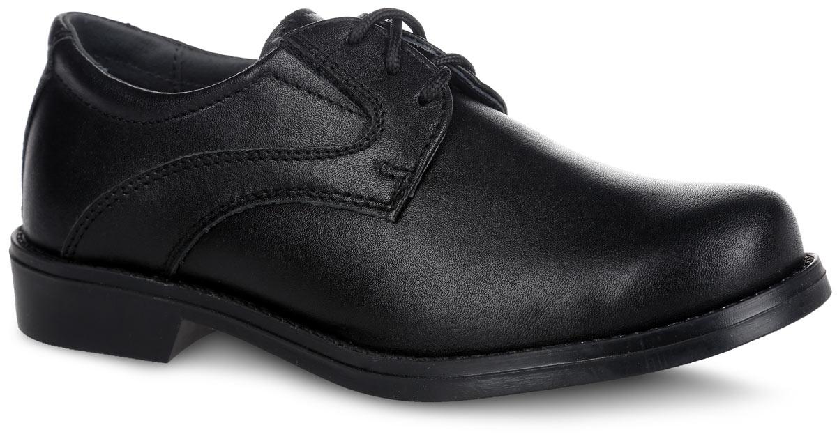 Туфли для мальчика Котофей, цвет: черный. 632176-21. Размер 34632176-21Стильные туфли для мальчика от Котофей выполнены из натуральной высококачественной кожи. Наличие эластичных резинок на союзке позволяет легко обувать и снимать обувь, используя шнурки только для регулировки по полноте. Стелька из мягкой натуральной кожи с супинатором обеспечивает максимальный комфорт при движении. Мягкий манжет предотвратит натирание. Небольшой каблук и подошва с рифлением обеспечивают отличное сцепление с поверхностью. Такие туфли займут достойное место среди коллекции обуви вашего ребенка.