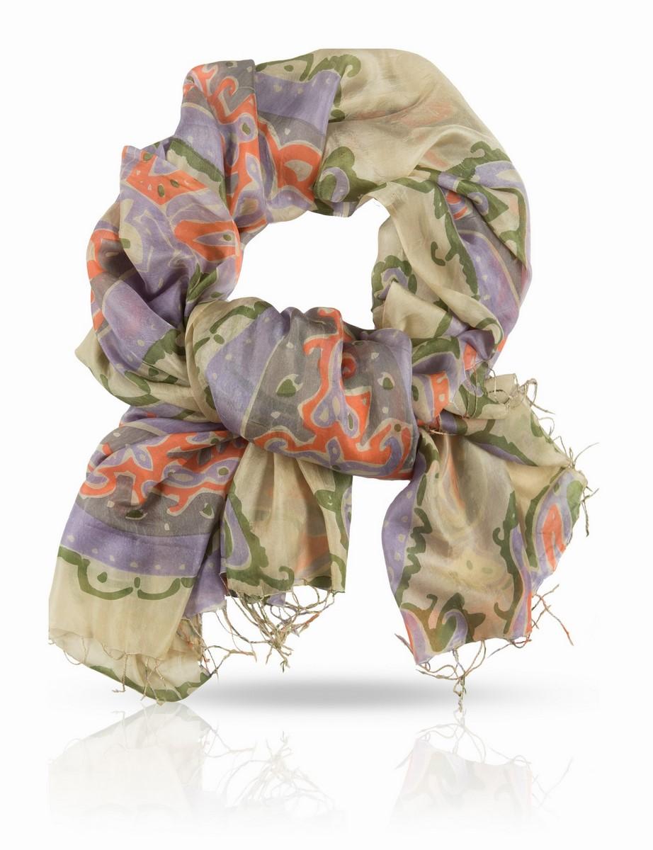 Палантин Michel Katana, цвет: оливкой, зеленый, лиловый, розовый. S-PAISLEY/TAU.SLATE. Размер 110 x 180 смS-PAISLEY/TAU.SLATEПалантин выполнен из натурального шелка.Рисунок этого женского палантина рождает образ таинственного Востока. В нем звучат мотивы персидских тканей, одежд и ковров, овеянных для европейцев особой тонкой магией. Доминирует в композиции элемент бута - легендарный индо-персидский символ в виде слезы, восточного огурца, стилизованной пальмовой ветви. Этот символ - поистине золотой сон европейской моды.