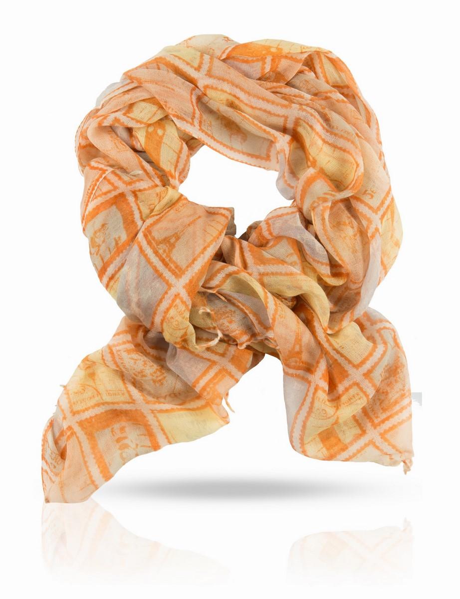 Палантин Michel Katana, цвет: оранжевый, желтый, белый. W-STAMP/WHITE. Размер 100 x 200 смW-STAMP/WHITEПалантин выполнен из натуральной шерсти. С этим палантином вы не захотите расставаться никогда! Нежная, полупрозрачная шерстяная ткань обнимает ваши плечи с невыразимой нежностью. Цветовая гамма освежает лицо и сочетается с любым повседневным нарядом.