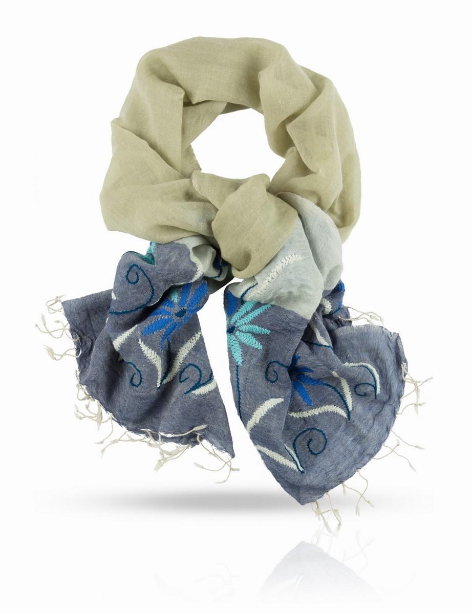 Палантин Michel Katana, цвет: бежевый, серый, синий, голубой. ZW.EMB/GREY.BEIGE. Размер 70 x 200 смZW.EMB/GREY.BEIGEОчаровательный палантин Michel Katana подчеркнет ваш неповторимый образ.Изделие выполнено из высококачественной шерсти и оформлено оригинальной ручной вышивкой. Палантин очень мягкий и приятный на ощупь, хорошо драпируется. Размер этого палантина позволяет уютно закутаться в него прохладным вечером. Этот модный аксессуар женского гардероба гармонично дополнит образ современной женщины, следящей за своим имиджем и стремящейся всегда оставаться стильной и элегантной.
