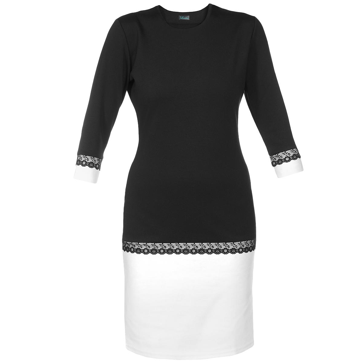 Платье Lautus, цвет: черный, белый. 536. Размер 44536Очаровательное платье Lautus приталенного силуэта, изготовленное из высококачественного полиэстера, придется по душе любой моднице. Круглый вырез горловины привлечет внимание к зоне декольте. Втачные рукава 3/4 дополнены контрастными манжетами. Низ платья акцентирован широкой вставкой из контрастной ткани. Рукава и низ платья декорированы кружевной тесьмой, что добавит изюминку в ваш образ. Лаконичный фасон платья обратит внимание на отличное чувство стиля. Платье станет отличным вариантом для работы в офисе, а дополнив модель аксессуарами, вы получите отличный вариант для праздника.