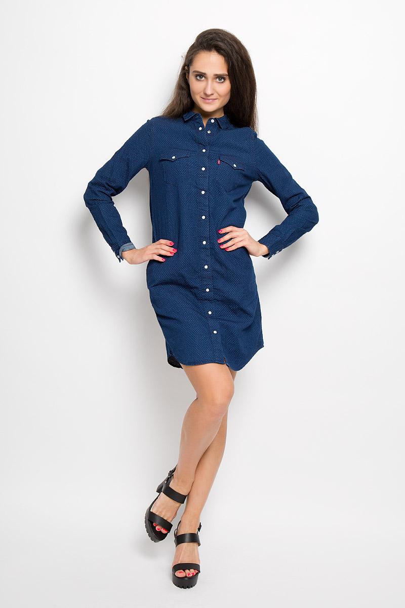Платье Levis®, цвет: темно-синий. 1929200020. Размер XS (42)1929200020Платье Levis®, выполненное по мотивам классической рубашки Western shirt, станет стильным дополнением к вашему гардеробу. Изготовленное из натурального хлопка, оно очень приятное на ощупь, не сковывает движений и позволяет коже дышать. Платье-рубашка с длинными рукавами и отложным воротником застегивается на кнопки и пуговицу. На манжетах предусмотрены застежки-кнопки. На груди расположены два накладных кармана с клапанами на кнопках, в боковых швах - два втачных кармана.Модель дополнена узким поясом в виде текстильного шнурка.Такое платье поможет создать модный и привлекательный образ, в нем вам будет удобно и комфортно!