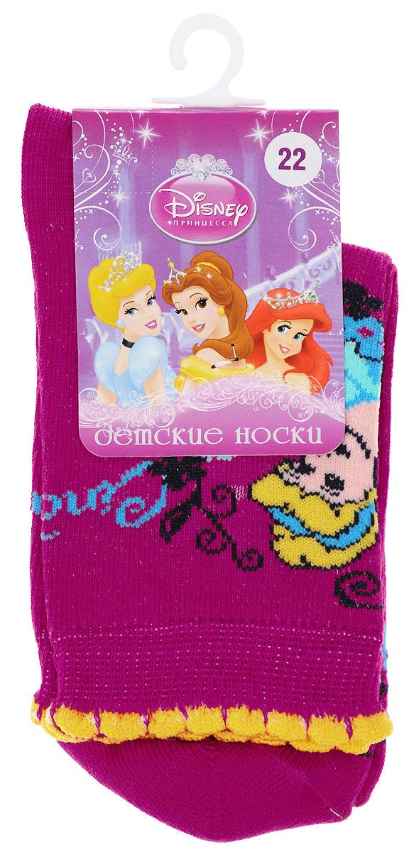 Носки для девочки Master Socks Disney Princess, цвет: малиновый. 12200. Размер 1812200Детские носки Master Socks Disney Princess выполнены из эластичного хлопка с добавлением полиамида. Материал изделия тактильно приятный, хорошо тянется, не деформируясь.Эластичная резинка мягко облегает ножку ребенка, обеспечивая удобство и комфорт. Модель с фигурными краями украшена изображением главной героини мультфильма Золушка. Такие носочки станут отличным дополнением к гардеробу маленькой поклонницы мультфильма студии Disney! Уважаемые клиенты!Размер, доступный для заказа, является длиной стопы.