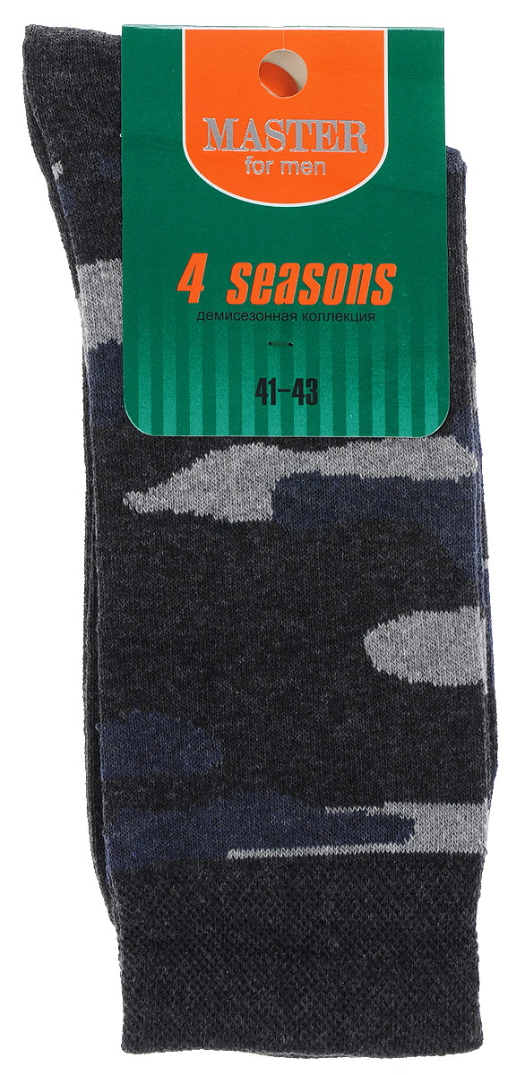 Носки мужские Master Socks, цвет: серый, синий. 58030. Размер 2558030Удобные носки Master Socks, изготовленные из высококачественного комбинированного материала, очень мягкие и приятные на ощупь, позволяют коже дышать.Широкая эластичная резинка плотно облегает ногу, не сдавливая ее, обеспечивая комфорт и удобство. Модель оформлена принтом камуфляж.Удобные и комфортные носки великолепно подойдут к любой вашей обуви.