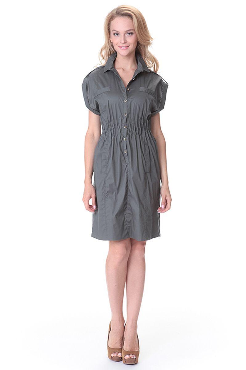 Платье Relax Mode, цвет: хаки. 45521. Размер S (44)45521Платье Relax Mode выполнено из хлопка с добавлением эластана. Модель оформлена прострочкой и застегивается с помощью пуговиц. Изделие оснащено карманами эластичной резинкой на поясе.
