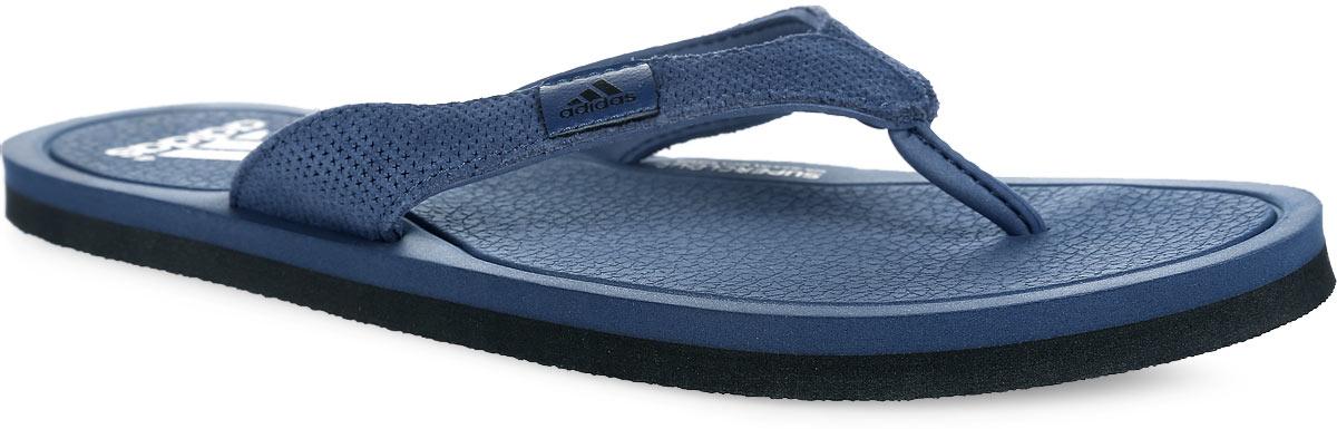 Сланцы мужские adidas, цвет: серо-синий. S78064. Размер 6 (38)S78064Стильные сланцы от adidas станут неотъемлемой частью вашего гардероба. Верх модели выполнен из высококачественной кожи и оформлен на ремешке нашивкой с фирменным принтом. Ремешки с перемычкой гарантируют надежную фиксацию модели на ноге. Быстросохнущая стелька с технологией Supercloud, изготовленная из ЭВА материала, предупреждает появление запаха, гарантирует прекрасную амортизацию и максимальный комфорт стоп. Рельефное основание подошвы из ЭВА гарантирует уверенное сцепление с любой поверхностью. Такие шлепанцы придутся вам по душе.