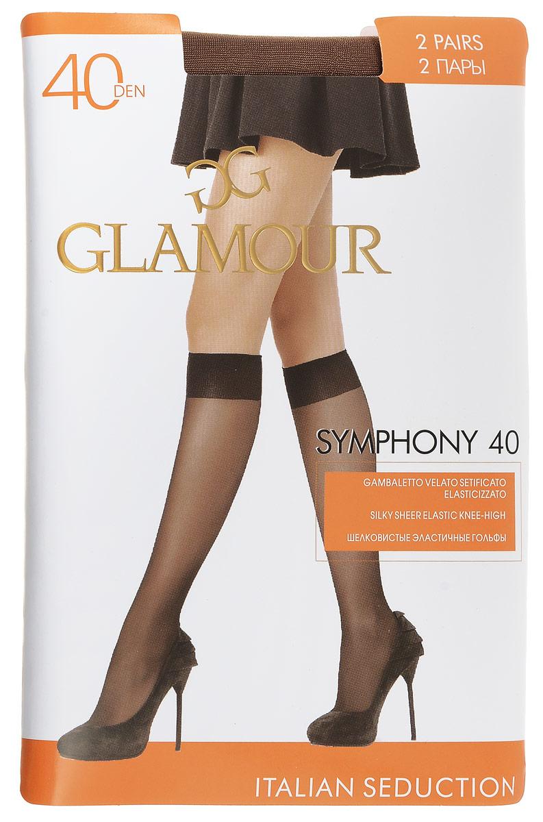 Гольфы женские Glamour Symphony 40, цвет: Daino (загар), 2 пары. 25819. Размер универсальныйSymphony 40Стильные гольфы Glamour Symphony 40, изготовленные из эластичного полиамида, идеально дополнят ваш образ в прохладную погоду.Шелковистые гольфы легко тянутся, что делает их комфортными в носке. Гладкие и мягкие на ощупь, они имеют комфортную мягкую резинку и укрепленный мысок. Идеальное облегание и комфорт гарантированы при каждом движении. Плотность: 40 den. В комплекте 2 пары.