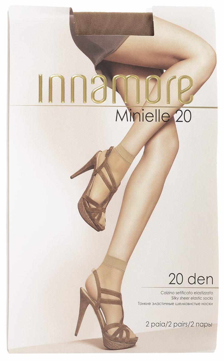 Носки женские Innamore Minielle 20, цвет: Miele (телесный), 2 пары. 6001. Размер универсальныйMinielle 20Удобные женские носки Innamore Minielle 20, изготовленные из высококачественного эластичного полиамида, идеально подойдут для повседневной носки. Входящий в состав материала полиамид обеспечивает износостойкость, а эластан позволяет носочкам легко тянуться, что делает их комфортными в носке.Эластичная резинка плотно облегает ногу, не сдавливая ее, обеспечивая комфорт и удобство и не препятствуя кровообращению. Практичные и комфортные шелковистые носки великолепно подойдут к любой открытой обуви. В комплект входят 2 пары носков. Плотность: 20 den.