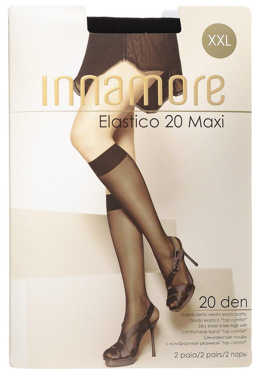Гольфы женские Innamore Elastico 20 Maxi, цвет: Nero (черный), 2 пары. 491. Размер универсальный491Стильные гольфы увеличенного размера Innamore Elastico 20 Maxi, изготовленные из эластичного полиамида, идеально дополнят ваш образ в прохладную погоду.Шелковистые гольфы легко тянутся, что делает их комфортными в носке. Гладкие и мягкие на ощупь, они имеют удобную резинку и укрепленный прозрачный мысок. Идеальное облегание и комфорт гарантированы при каждом движении. В комплект входят 2 пары гольф.Плотность: 20 den.