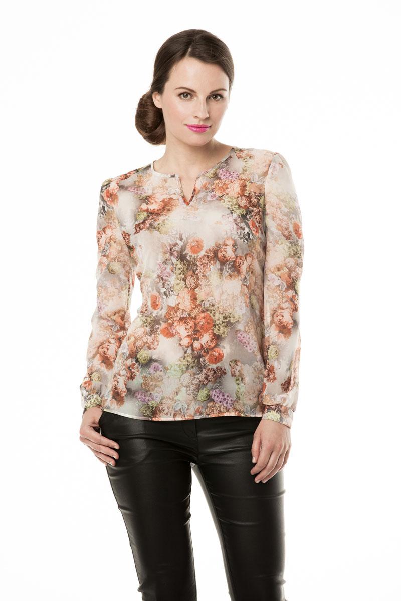 Блузка женская Е.Levy, цвет: цветы . 3161. Размер 423161Очень романтичная модель с округлым вырезом,длинные рукава с узкими манжетами на пуговицах, без топа. Слегка прозрачный. Материал вискозный шифон.