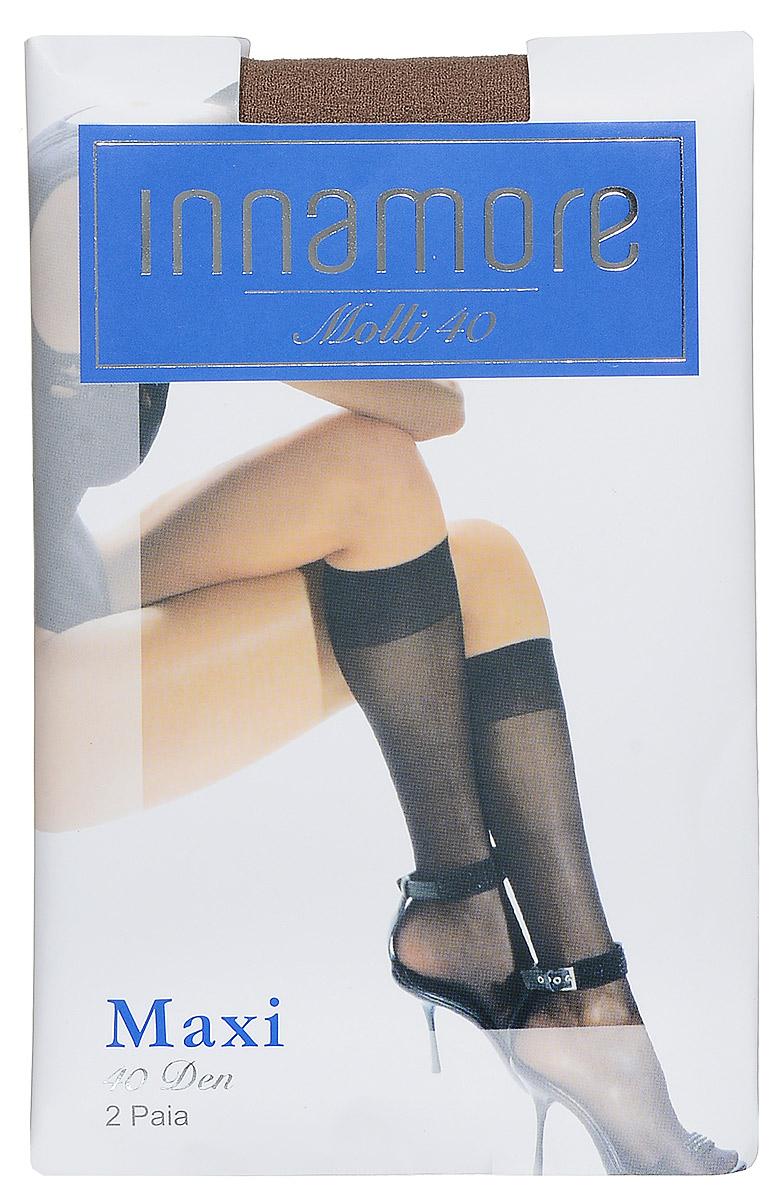 Гольфы женские Innamore Molli 40 Maxi, цвет: Daino (загар), 2 пары. 492. Размер универсальный492Стильные гольфы Innamore Molli 40 Maxi, изготовленные из эластичного полиамида, идеально дополнят ваш образ в прохладную погоду.Шелковистые гольфы легко тянутся, что делает их комфортными в носке. Гладкие и мягкие на ощупь, они имеют резинку top comfort и укрепленный мысок. Идеальное облегание и комфорт гарантированы при каждом движении. В комплект входят 2 пары гольф.Плотность: 40 den.
